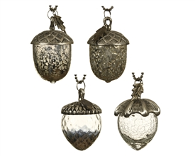 Chunky Silver Glass Acorn Decorations 4 Asst