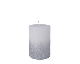 10cm Pillar Candle with Glitter - Winter White
