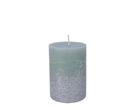 10cm Pillar Candle with Glitter - Sage Green