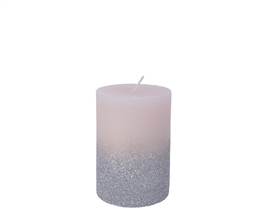 10cm Pillar Candle with Glitter - Blush Pink