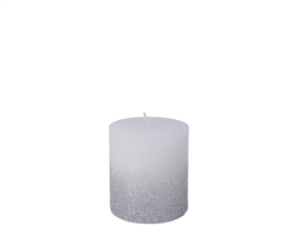 7.5cm Pillar Candle with Glitter - Winter White