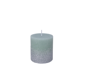 7.5cm Pillar Candle with Glitter - Sage Green