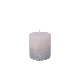 7.5cm Pillar Candle with Glitter - Blush Pink