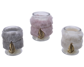 Mini Wax Filled Glass with Faux Fur Wrap 3 Asst