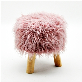 Fluffy Round Pink Stool 33cm