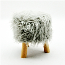 Fluffy Round Grey Stool 33cm