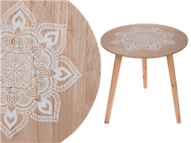 Mandala Wooden Side Table With Removable Legs 42cm