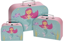 Set Of 3 Childrens Suitcase Mermaid 30cm