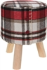 Wooden Stool With Tartan Cushion Top 30x38cm
