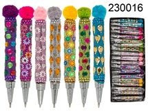 Pen With Gem And Pom Pom Design 7 Assorted 7.5cm