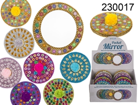 Multi Coloured Jewelled Hand Mirror 7 Assorted 7.5cm