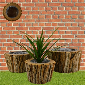 Set Of 3 Round Bark Planters