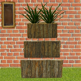 Set Of 3 Rectangle Bark Planters