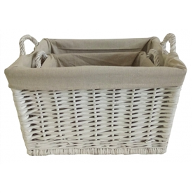 Set Of 2 Wicker Baskets With Handles 47cm