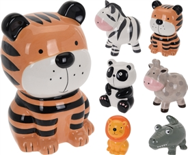 Colourful Animal Money Banks 6 Assorted