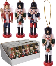 Set Of 3 Colourful Nutcracker Hanging Decorations 12cm
