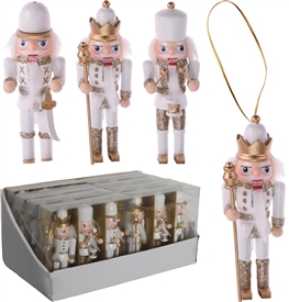 Set Of 3 White And Gold Nutcracker Hanging Decorations 12cm