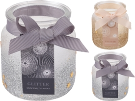 Candle In Glitter Jar 2 Assorted 6cm