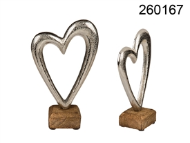 Metal Heart On Wooden Base 17cm