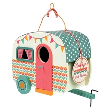 Charming Wooden Caravan Birdhouse