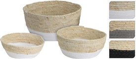 Set Of 3 Baskets With Mesh. 3 Assorted