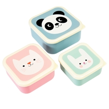 Panda, Cat And Rabbit Set Of 3 Snack Boxes