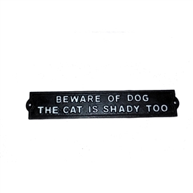 Beware Of Dog And Cat Cast Iron Sign