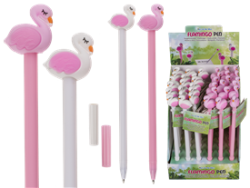 Colourful Plastic Pen Flamingo Design 2 Assorted 18cm