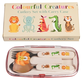 Colourful Creatures Children's Cutlery Set With Case