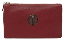 Faux Leather Body Bag - Wine Red