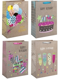 Birthday Fiesta Large Gift Bag 4 Assorted Sold In 12's