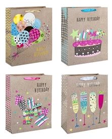 Birthday Fiesta Small Gift Bag 4 Assorted Sold In 12's