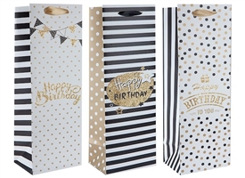 Polka Dot And Stripe Birthday Bottle Gift Bag 3 Assorted Sold In 12's