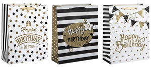 Polka Dot And Stripe Birthday Large Gift Bag 3 Assorted Sold In 12's