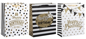 Polka Dot And Stripe Birthday Medium Gift Bag 3 Assorted Sold In 12's