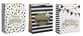 Polka Dot And Stripe Birthday Small Gift Bag 3 Assorted Sold In 12's