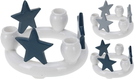 Ceramic Star Ring Candle Holder 2 Assorted
