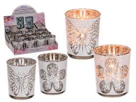 White Glass Tealight Holder 2 Assorted