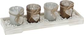 Set Of 4 Tealight Holders On Wooden Tray
