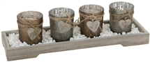 Heart Tealight Holders in Tray Set