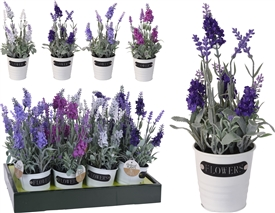 Artificial Lavender In Metal Pot 4 Assorted