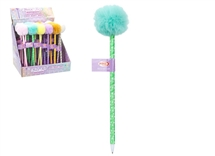 Pom Pom Ball Point Pen 6 Assorted