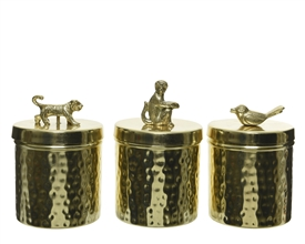 Gold Hammered Storage Pot with Animal 3 Asst