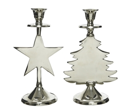 22cm Aluminium Christmas Candle Holder 2 Asst