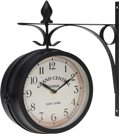 Metal Clock On Large Wall Bracket 33cm