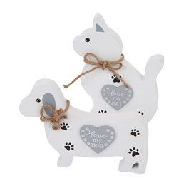 Wooden Cat and Dog Figurine