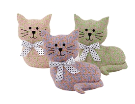 Floral Cat Doorstop 3 Assorted
