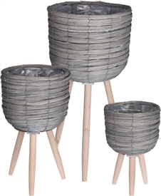 Set Of 3 Standing Planters � Grey