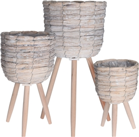 Set Of 3 Standing Planters � White