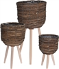 Set Of 3 Standing Planters � Brown